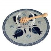 Lily Art Glass Honey Bowl On Circle Tray With Navy Blue Pomegranates