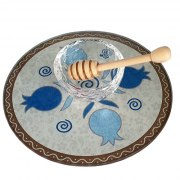 Lily Art Glass Honey Bowl On Circle Tray With Blue Pomegranates