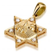 Jerusalem Star of David Pendant 18K Gold and Diamond
