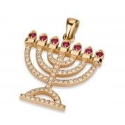 18K Gold, Diamonds and Rubies, Menorah Necklace