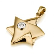 18K Gold Folded Over Star of David Pendant with Diamond