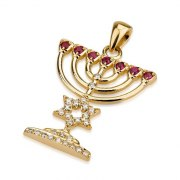 18K Gold Menorah with Diamonds Star of David  Pendant