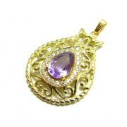 18K Gold Pomegranate Amethyst and Zircont Necklace