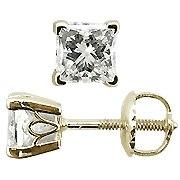 18K Yellow Gold 0.33cttw Princess Cut Diamond Stud Earrings