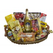 Straw Basket with Kosher for Passover Goodies and Wine