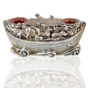 Sterling Silver Shabbat Candlesticks with Noahs Ark