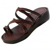 Double Criss-Cross Leather Strap Platform Biblical Sandals