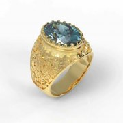 14K Gold Jerusalem Ring with Topaz Stone