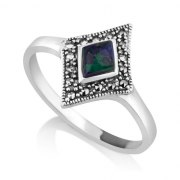 Marina Jewelry Rhombus Eilat Stone Ring With Sterling Silver Marcasite Frame