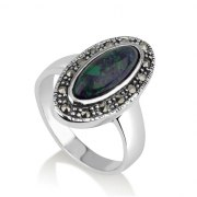 Marina Jewelry Oval King Solomon Eilat Stone Ring With Sterling Silver Marcasite Frame