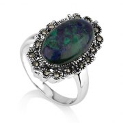 Marina Jewelry Oval Eilat Stone Ring With Sterling Silver Marcasite Beaded Frame
