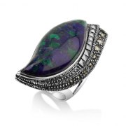 Marina Jewelry Leaf Shaped Eilat Stone Ring With Sterling Silver Marcasite Decoration