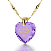 24k Gold Plated Best Mom with Cubic Zirconia Violet Light Amethyst