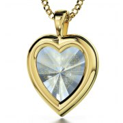 24K Gold Plated Heart Thank You Mom Zirconia Crystal Clear