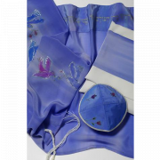 Lilac Silk Tallit with Hand Painted Doves Design