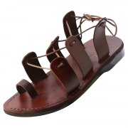 Handmade Roman Style Sandals with Criss-Cross Laces - Shaked