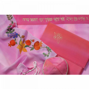 Silk Tallit Prayer Shawl with Holyland Fruits and Flowers Design