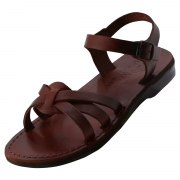 Crossover Toe Straps Handmade Biblical Leather Sandals - Osnat