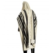Talitania Turkish Wool Tallit Prayer Shawl with Black Stripes