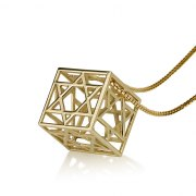 3 Dimensional Box 14K Gold Stars of David Pendant