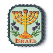 3 Dimentional Colorful Menorah and Grape Vine Magnet