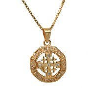 Marina Jewelry Gold Plated Zircon Jerusalem Cross Pendant