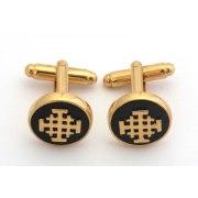 Marina Jewelry Gold Plated Onyx Jerusalem Cross Cufflinks