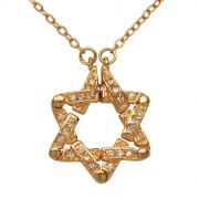 Marina Jewelry Gold Plated Openable Star Of David Pendant With Zircons