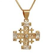Marina Jewelry Gold Plated Zircon Edged Jerusalem Cross Pendant