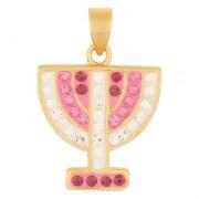 Marina Jewelry Gold Plated Menorah Pendant With Amethyst Rose Zircon