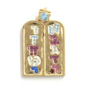 Marina Jewelry Gold Plated Two Tablets Pendant With Various Stones