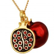 Marina Jewelry Gold Filled Pomegranates Necklace With Garnet Seeds