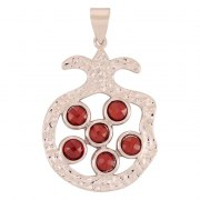 Marina Jewelry Hammered White Gold Filled Pomegranate Pendant With Garnets