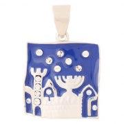 Marina Jewelry Sterling Silver Blue Enamel Jerusalem Pendant