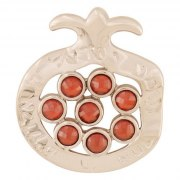 Marina Jewelry White Gold Filled Pomegranate Pendant Garnet Seeds In Open Center