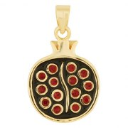 Marina Jewelry Gold Filled Pomegranate Pendant With Garnet Seeds