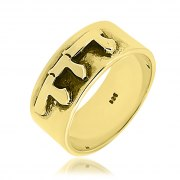 14K Gold Wide Hebrew Name Ring with Raised letters