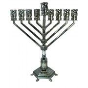 Hanukkah Menorah Nickel With Stones Chabad Style