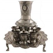 Silver Plated Three Legged Kiddush Cup Wine Fountain