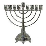 Hanukkah Menorah Nickel With Blue Stones