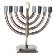 Classic Aluminium Hanukkah Menorah with Shades of Grey