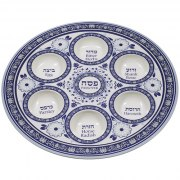 Passover Blue Seder Plate