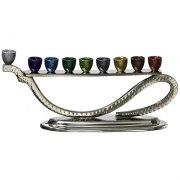 Aluminum Hanukkah Menorah Wave Design with Colorful Cylinders