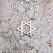 Marina Jewelry Sterling Silver Large Classic Shiny Star Of David Necklace
