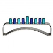 Hammered Aluminum Hanukkah Menorah with Blue Cylinders