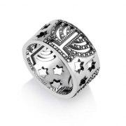 Menorah Jewish Ring Silver with Stars of David by Marina Jewelry