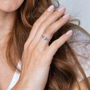 Star of David Jewish Ring Sterling Silver Blue Enamel by Marina Jewelry