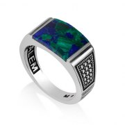 Eilat Stone Ring Sterling Silver With Diamond Pattern Sides by Marina Jewelry