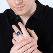 Eilat Stone Ring Sterling Silver With Lined Sides by Marina Jewelry