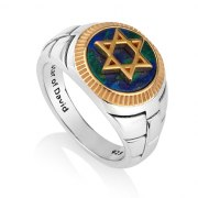 Marina Jewelry Star Of David Eilat Stone Sterling Silver Gold Plated Ring